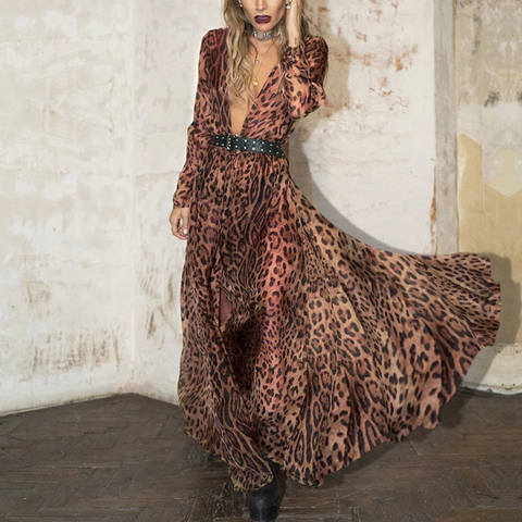 Sexy Fashion With Belt  Leopard Print Maxi Dress