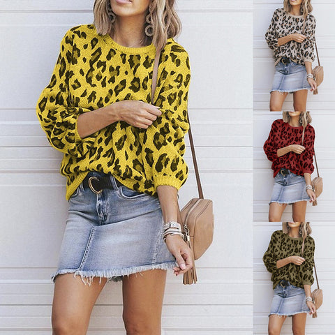 Fashion Round Neck Leopard Multicolor Loose Long Sleeve Sweater