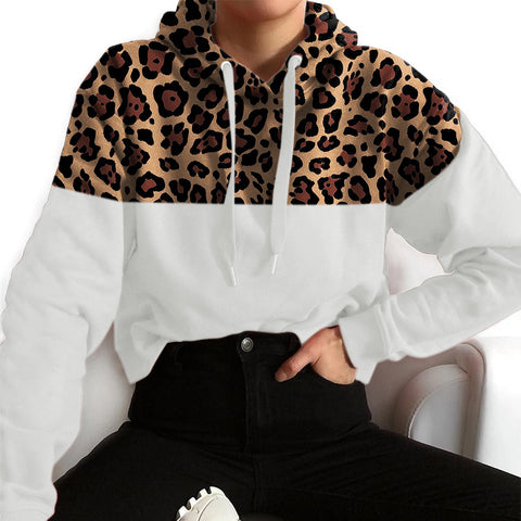 Casual Hooded Leopard Stitching Loose Sweatershirt