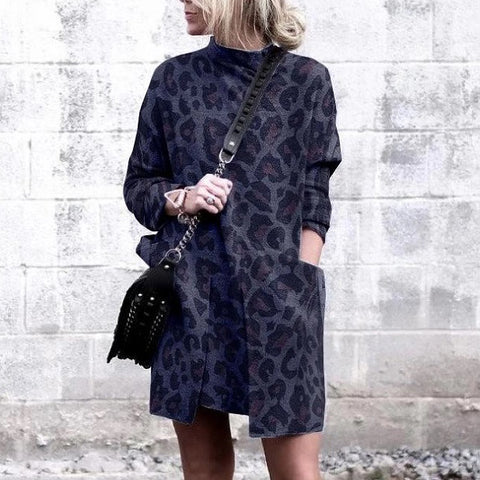 Casual Imitation Leopard Print Large Pocket Turtleneck Dress