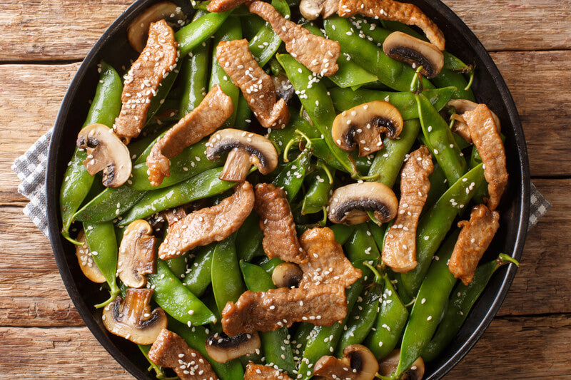 Stir-Fried Sesame Beef and Peas