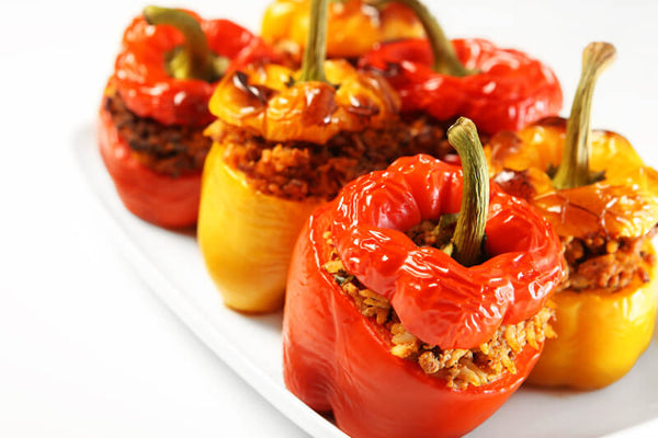 Cooked stuffed bell peppers