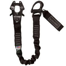 Load image into Gallery viewer, Fusion Tactical 2ft, 4ft, 6ft Internal Elastic Bungee Military Police Personal Retention Helo Lanyard with Kong Frog Snap Shackle 23kN Black