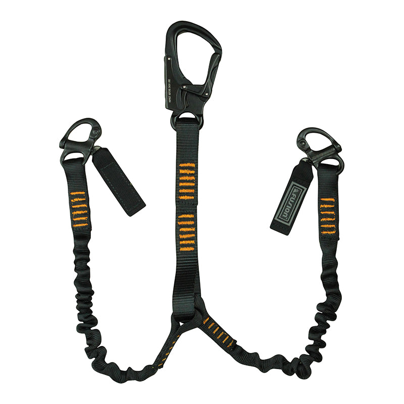 Fusion Tactical 2ft, 4ft, 6ft Y-Legged Internal Elastic Bungee Military Police Personal Retention Helo Lanyard with Auto Locking Carabiner Flat Loop 23kN Black