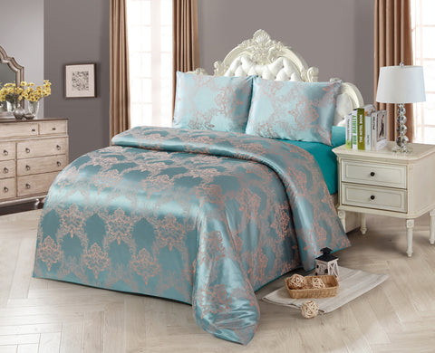 JA39N JACQUARD/300 THREAD COTTON BEDDING SET (CHANNEL INFUSION)