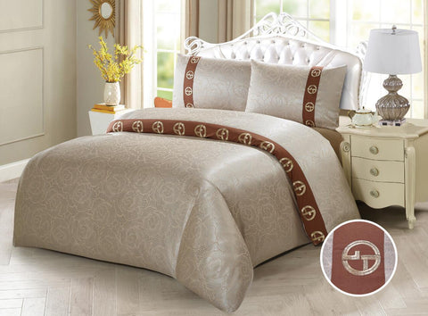 JE07 JACQUARD/300 THREAD COTTON BEDDING SET (GUCCI INFUSION)