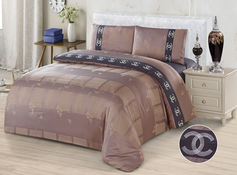 JE08 JACQUARD/300 THREAD COTTON BEDDING SET (CHANNEL INFUSION)