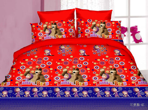 MP26 MICROFIBER/  300 THREAD  COTTON BEDDING SET(MASHA AND MEDVED )