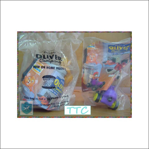 1996 Disney Burger King - OLIVER & company - kid's Meal Club - MIP (2  different)