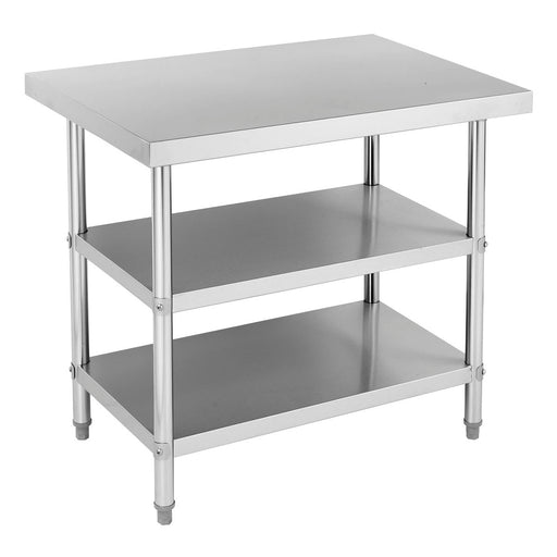 Stainless Steel Work Bench With 2 Under Shelf (Round Tube Leg)