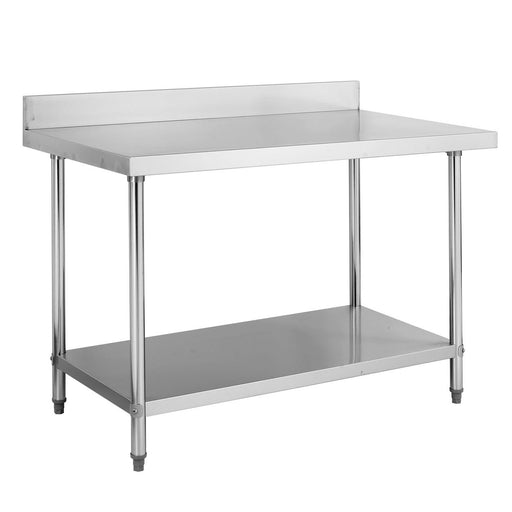 Stainless Steel Work Bench With 1 Under Shelf & Backsplash (Round Tube Leg)