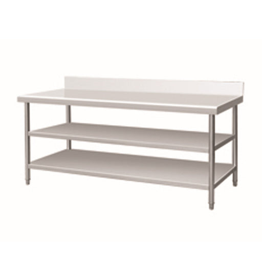Stainless Steel Work Bench With 2 Under Shelf & Backsplash (Round Tube Leg)