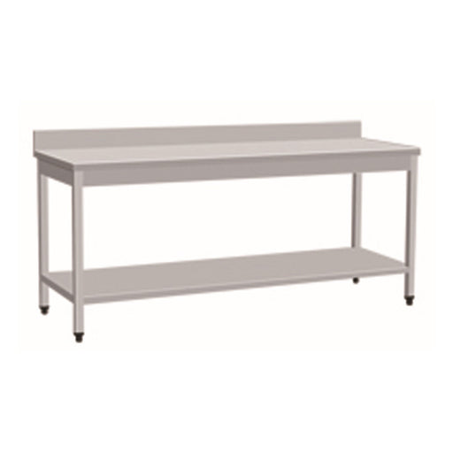 Stainless Steel Work Bench With 1 Under Shelf & Backsplash (Square Tube Leg)