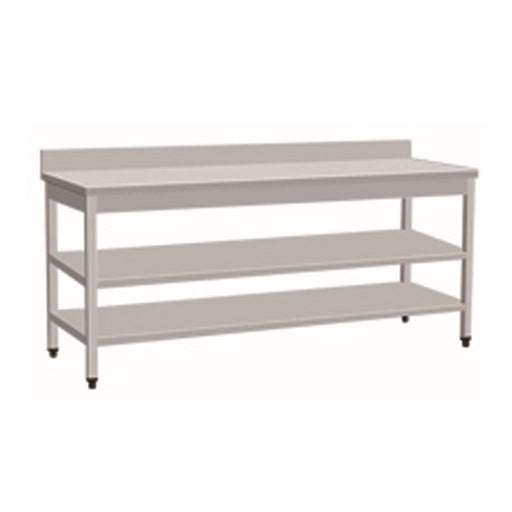 Stainless Steel Work Bench With 2 Under Shelf & Backsplash (Square Tube Leg)