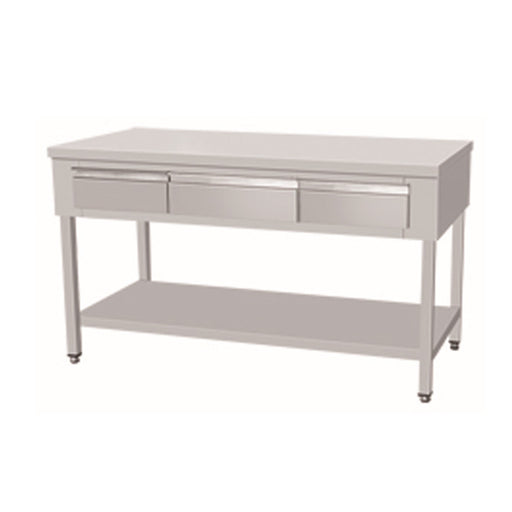 Stainless Steel Work Bench With Undershelf & 2 Drawers