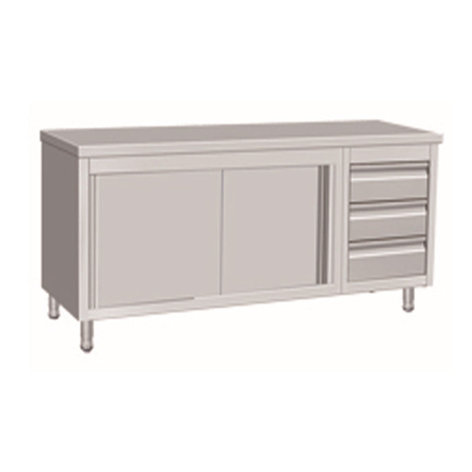 Stainless Steel Cabinet With Sliding Door & 3 Drawers