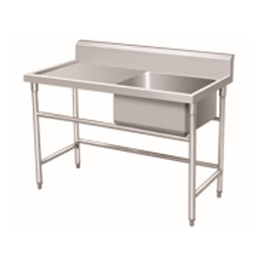 Stainless Steel 1-Bowl Sink Bench With Backsplash