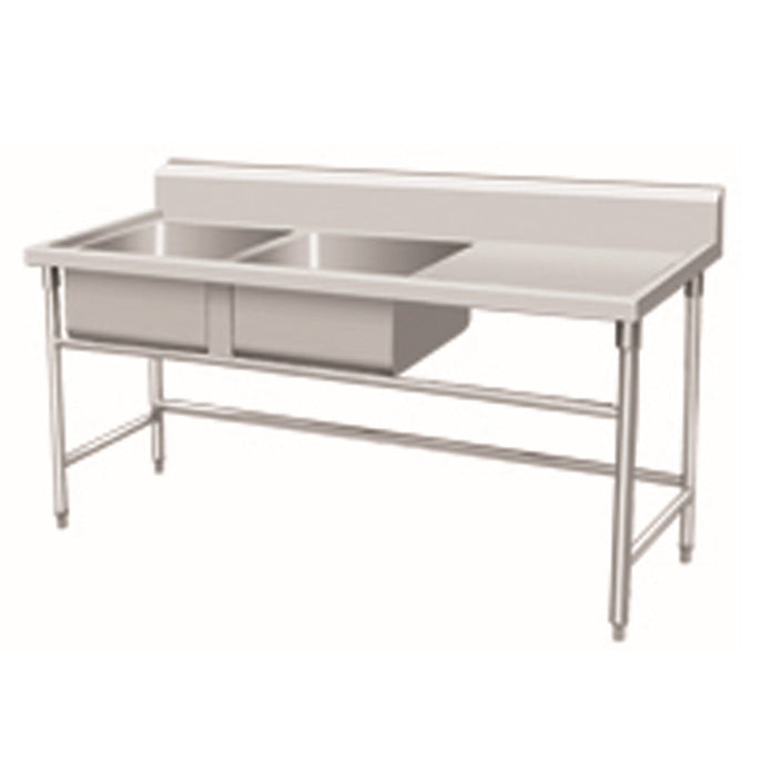 Stainless Steel 2-Bowl Sink Bench With Backsplash