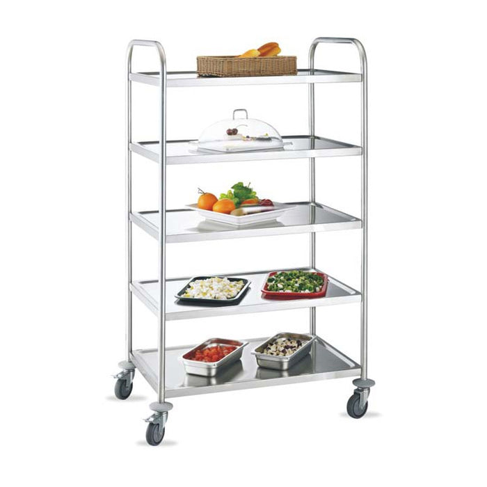 5-Tier Round Tube Service Trolley