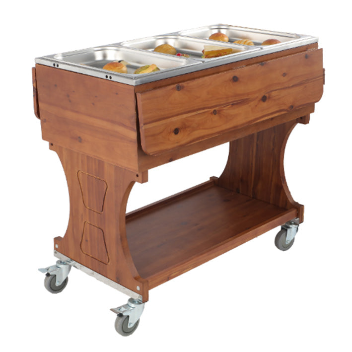 Solid Wood Food Trolley for insulated GN Pan (fix down)