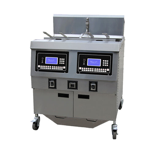 2 Tank and 4 Basket Gas Open Fryer with Oil Pump and LCD Panel (Digital Control)