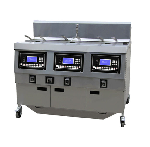 3 Tank and 6 Basket Gas Open Fryer with Oil Pump and LCD Panel (Digital Control)