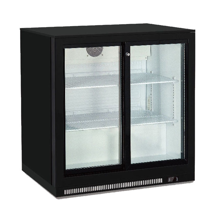 Back Bar Cooler With Two Glass Door (Black)