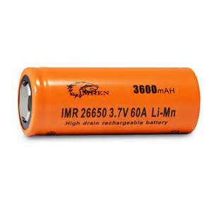 Imren IMR26650 3600mAh 60A Battery - Flat Top