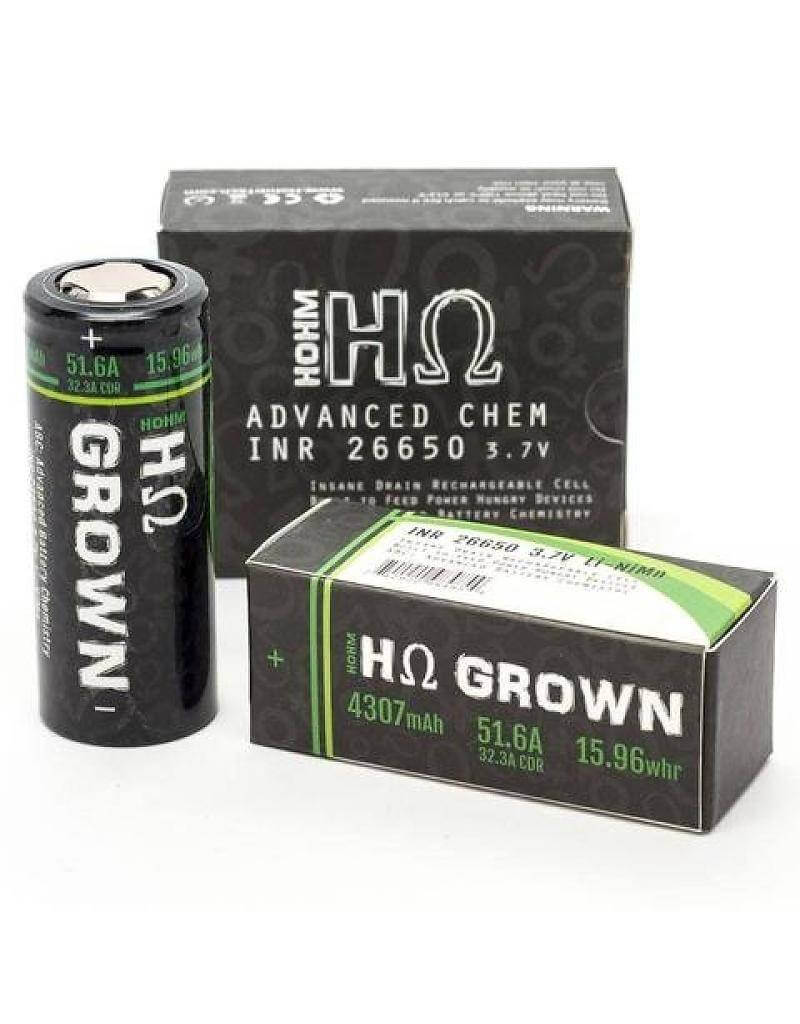 Hohm Grown INR26650 4307mAh 51.6A Battery - Flat Top