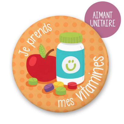 Outil parentlité positive, aimant «Je prends mes vitamines », Minimo Motivation
