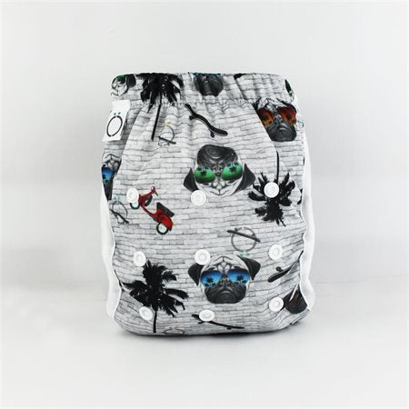 Couche-maillot lavable, Motif Pugs, Omaiki