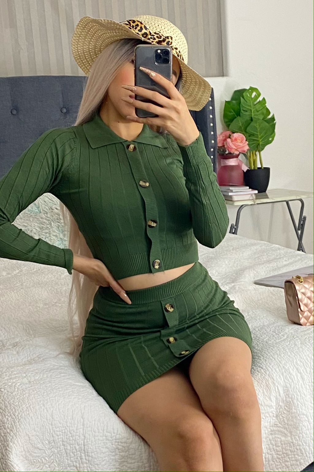 Two piece set top & skirt (olive)