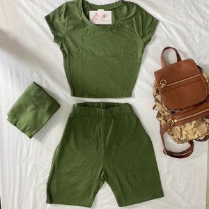Two piece set olive biker short and top