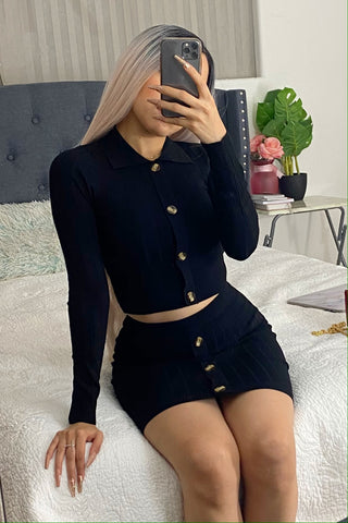Two piece set top & skirt (black)