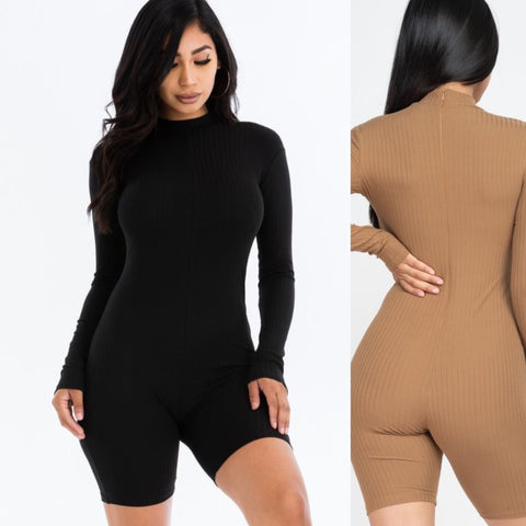 Penelope ribbed romper (black)