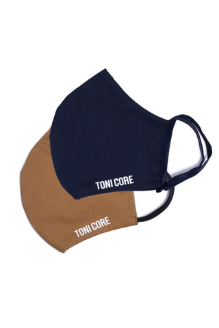 The Face Mask Double Pack - blue & camel