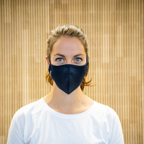 The Face Mask blue - on person - front