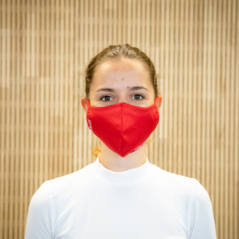 The Face Mask red - on person - front
