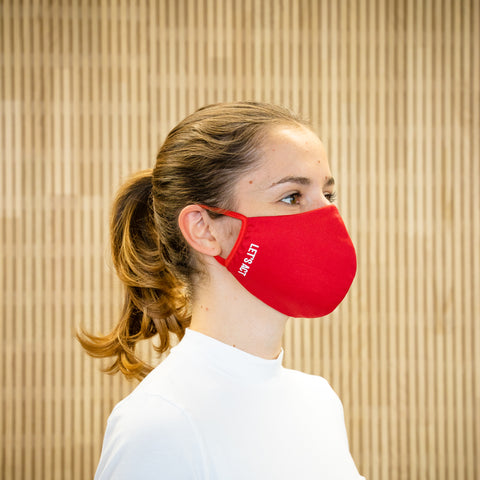 The Face Mask red - on person - right side