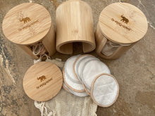 Bamboo Make Up Remover Pads and Bamboo Storage Pot