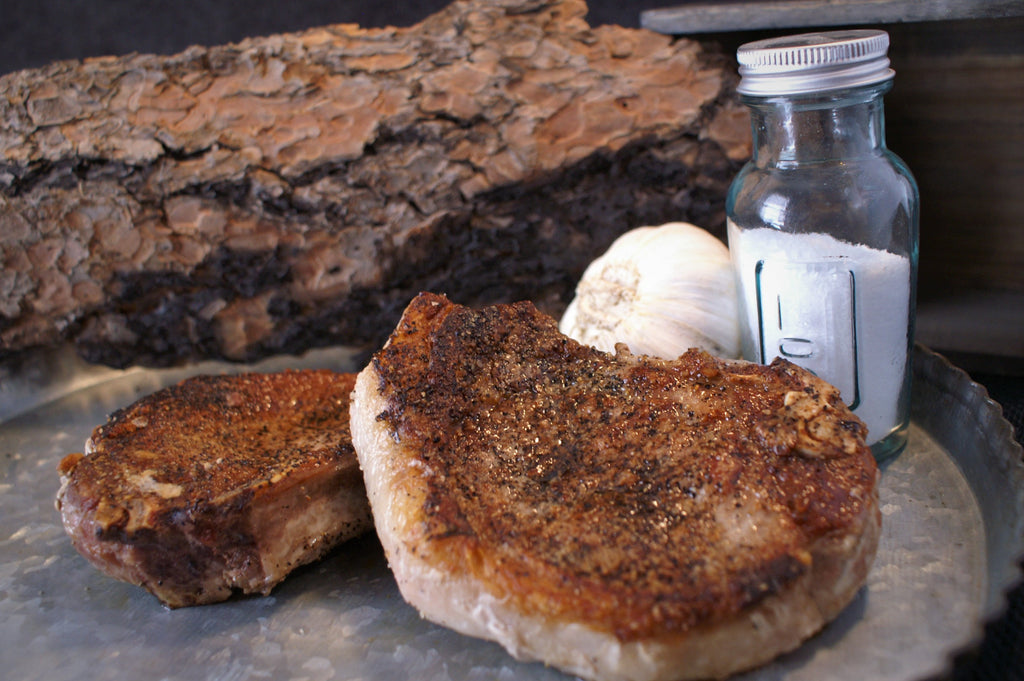 pastured pork chops from Colorado - easy recipe for seared chops with garlic butter sauce