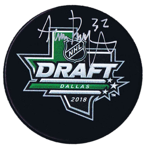 Adam Boqvist Chicago Blackhawks Autographed 2018 NHL Draft Puck Autographed Hockey Pucks CoJo Sport Collectables