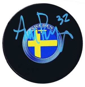 Adam Boqvist Chicago Blackhawks Autographed Team Sweden Puck - CoJo Sport Collectables Inc.