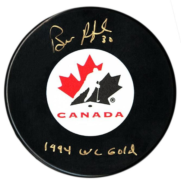 Bill Ranford Autographed Team Canada 1994 WC Gold Puck - CoJo Sport Collectables Inc.