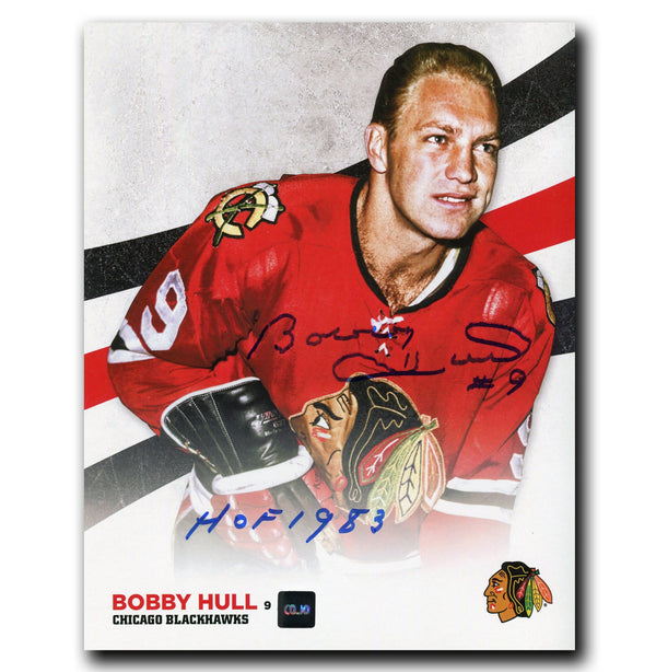 Bobby Hull Chicago Blackhawks Autographed 8x10 Design Photo - CoJo Sport Collectables Inc.