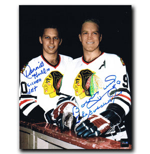 Bobby Hull and Dennis Hull Chicago Blackhawks Dual Autographed 8x10 Photo Autographed Hockey 8x10 Photos CoJo Sport Collectables