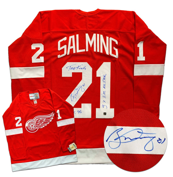 Borje Salming Detroit Red Wings Autographed Replica CCM Vintage STATS Jersey - CoJo Sport Collectables Inc.