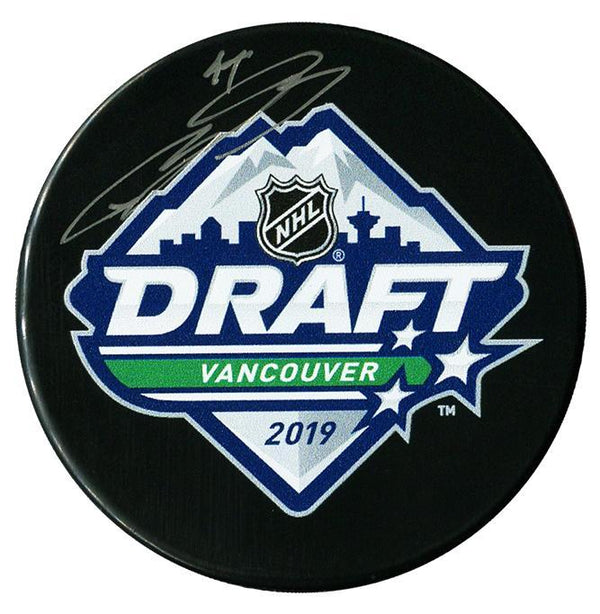 Bowen Byram Colorado Avalanche Autographed 2019 NHL Draft Puck - CoJo Sport Collectables Inc.