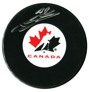 Bowen Byram Colorado Avalanche Autographed Team Canada Puck - CoJo Sport Collectables Inc.