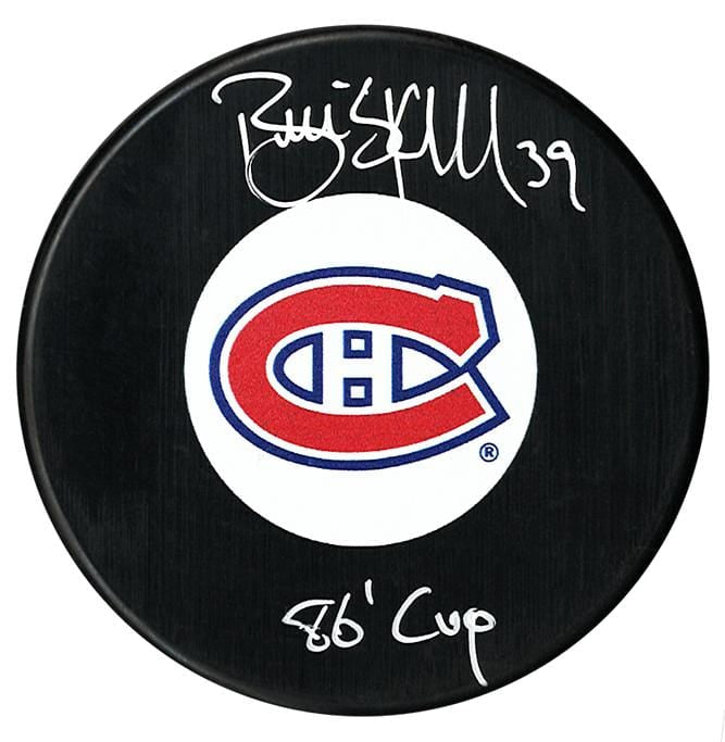 Brian Skrudland Autographed Montreal Canadiens 86 Cup Inscribed Puck CoJo Sport Collectables Inc.